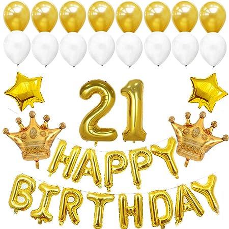 Toyvian 21 cumpleaños Globos Globos número Jumbo Dorado ...
