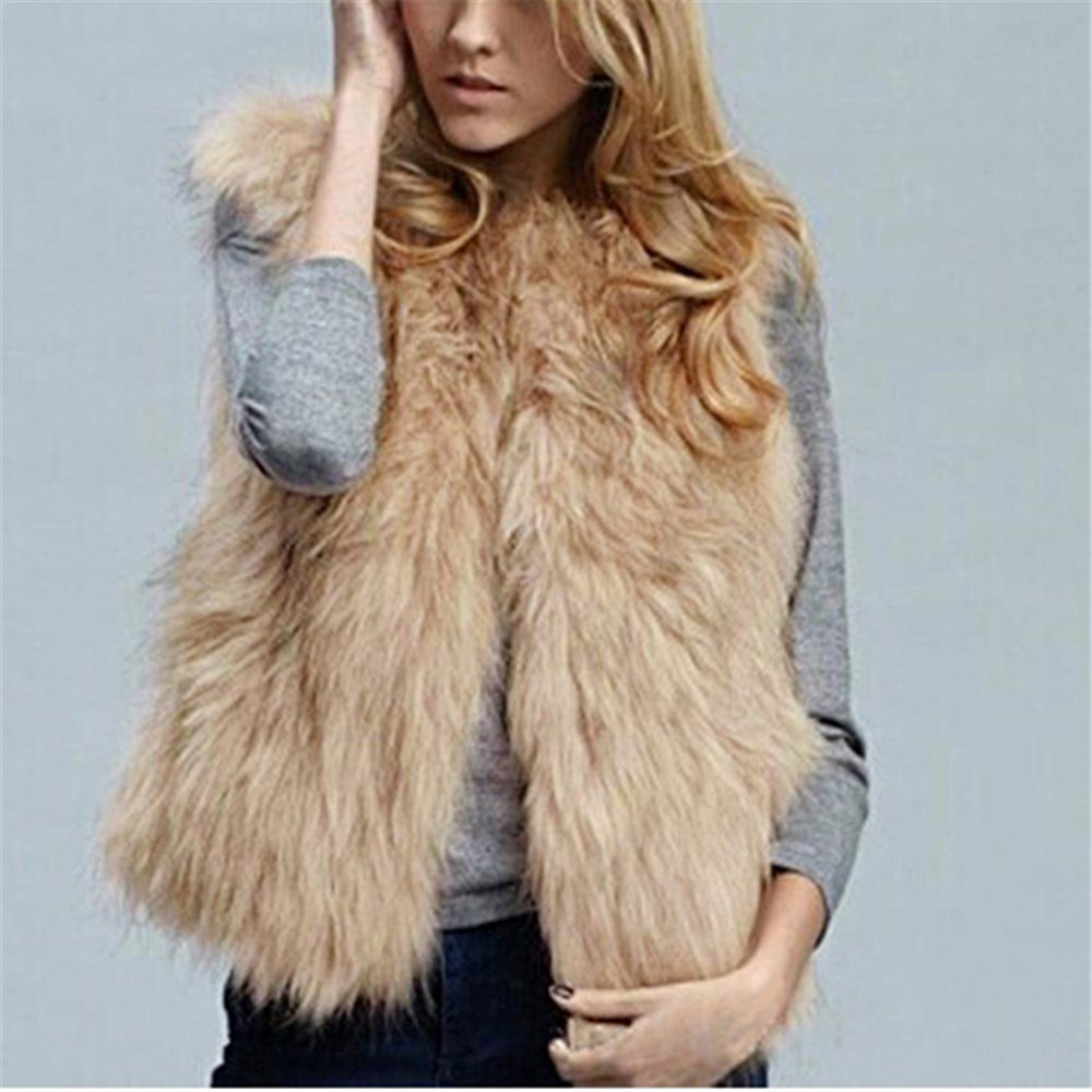 bd8511a799c Amazon.com: Kimloog Women Winter Warm Sleeveless Short Faux Fur Vests  Casual Jacket Coat Outerwear (M, Khaki): Home Audio & Theater