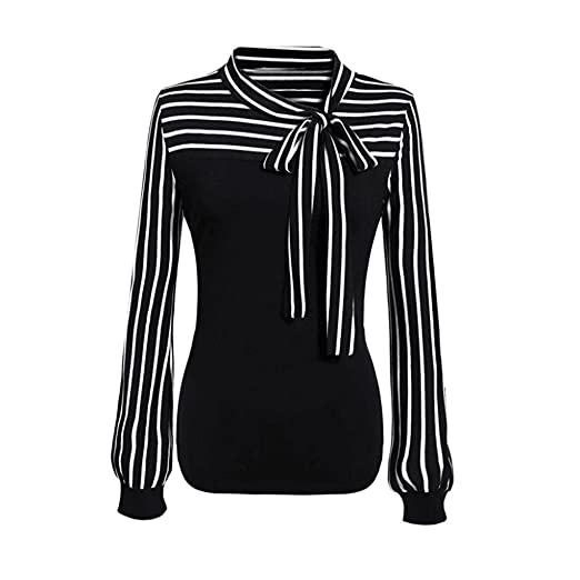 4f31dab7833 Women Blouse HGWXX7 Tie-Bow Neck Striped Long Sleeve Splicing Business  Attire Shirt Tops Blouse