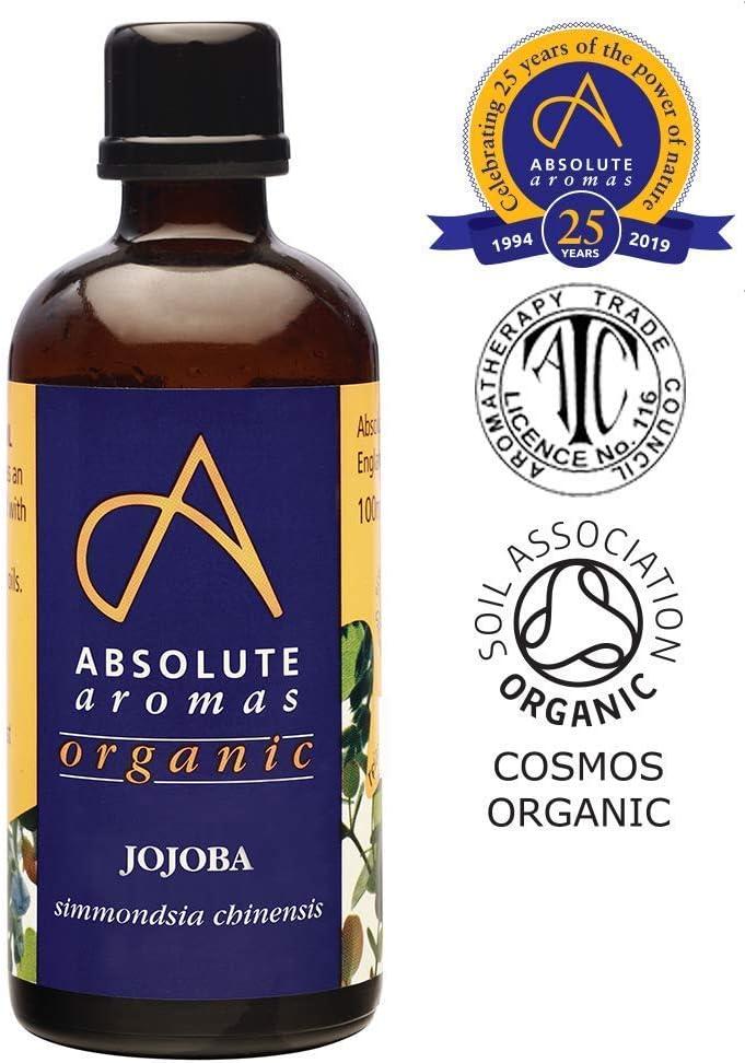 Absolute Aromas Aceite Orgánico de Jojoba 100ml en Botella de Vidrio - Puro, Natural, Prensado en Frío, Vegano y Libre de Crueldad - Aceite para Masaje e Hidratante para Cabello, Cara, Piel y Uñas