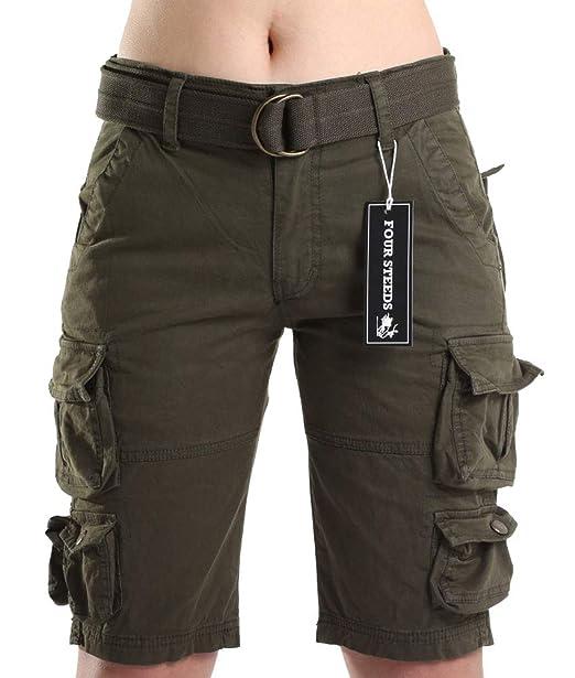 Algodón Con Para Pantalones De Ajuste Foursteeds Suelto Mujer Cortos f7gI6vYby