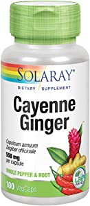 Solaray Cayenne & Ginger with Marshmallow 550 mg   Healthy Digestion, Circulation, Metabolism & GI Wellness Support   Non-GMO   100 VegCaps