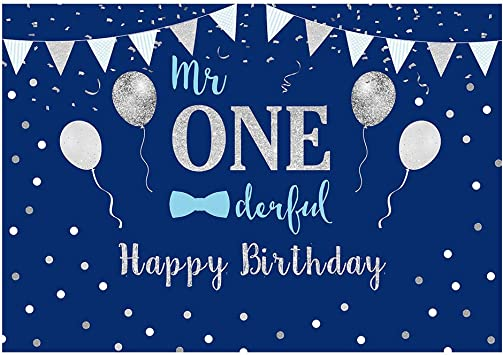 Amazon Com Funnytree 7x5ft Baby Boy 1st Birthday Party Backdrop Mr Onederful First Blue And Silver Photography Background Little Man Bow Tie Newborn Cake Table Decorations Photoshoot Banner Photo Booth Props