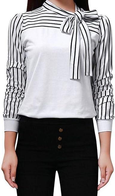 Camisas para Damas Corbata De Manga Larga Cuello De Pico Ropa Tops De Rayas Blusas Camisa De Trabajo De Oficina Tops 2018 Otoño 36 38: Amazon.es: Ropa y accesorios