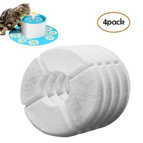 FOONEE Filtros compatibles con Fuente de Flores de Catit, 4 Paquetes de filtros de Repuesto para Fuente de Agua de Mascotas, Altamente eficaces para ...