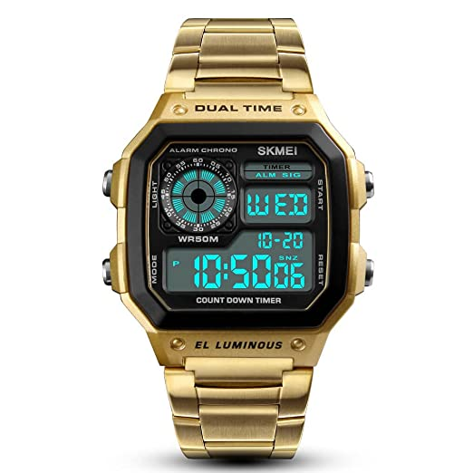 3501c7c36ae Men Sports Watches Waterproof Countdown 12 24 Hour Stainless Steel Watch  Alarm Date Male Boys Digital Wristwatches EL Luminous (Gold)  Amazon.co.uk   Watches
