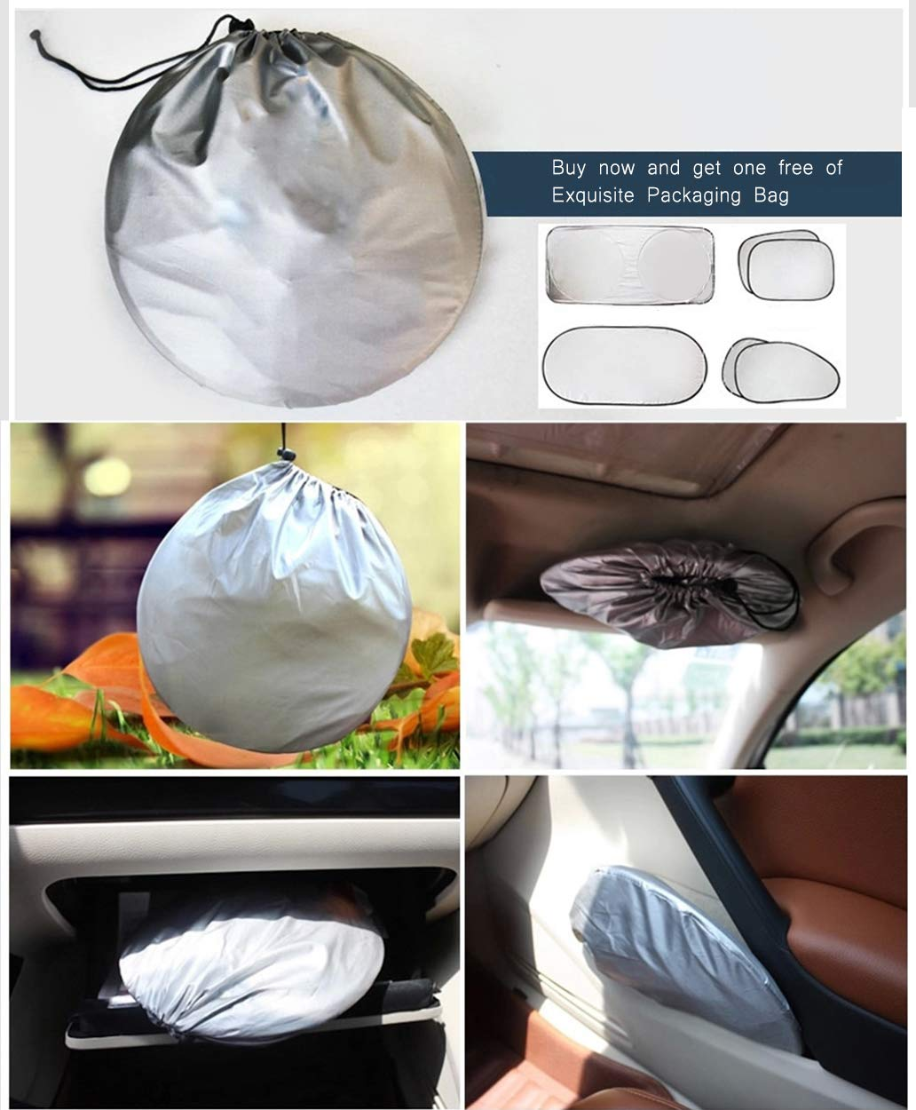 Windshield Sun Shade/Made of 210T Silver Coated Cylon/Effective Insulation/Fits Windshields of Various Sizes (Standard 59 x 31 inches) (6 Sets) by g-oo-d (Image #7)