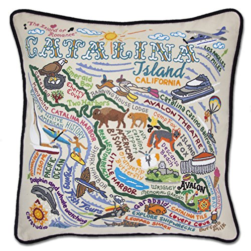 Catstudio Catalina Island, California Hand-Embroidered Throw Pillow | Coastal Collection | 20