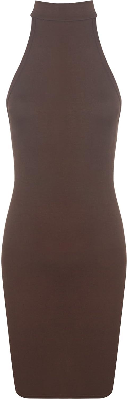 WearAll Women's Strappy Bodycon Short Sleeveless Turtleneck Top Mini Dress