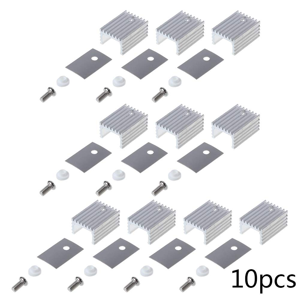 10Set TO-220 Cooling Radiator Aluminum Sheet Heatsink Transistor Heat Sink Cooler Radiator Cooling Silicone Pads for PC Computer Components