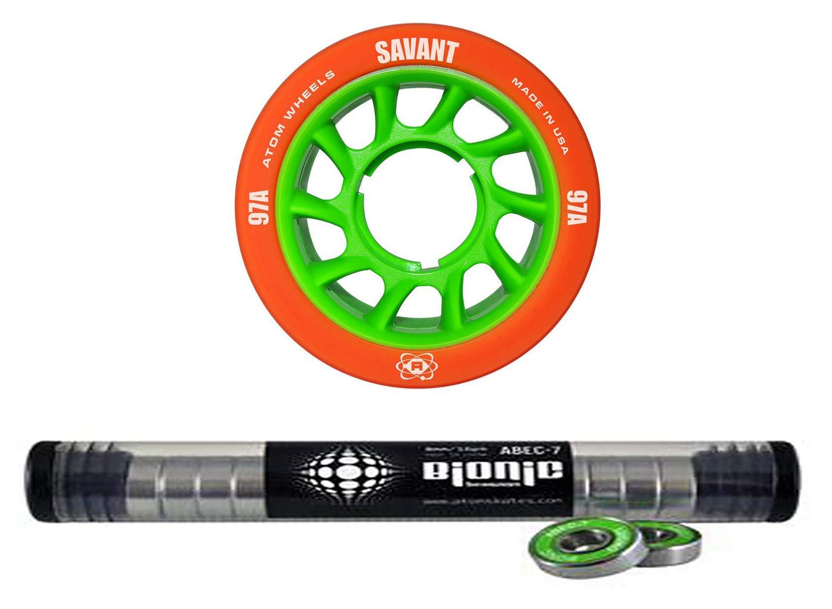 Atom Savant Skate Wheels with Bionic Bearings 8mm Full Set of 8 Orange 97A by Atom Skates