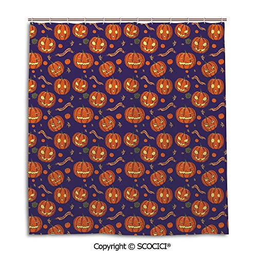 Creative Bathroom Curtain Separation Door Curtain bath curtain,66X72in,Halloween,Pumpkins Pattern Different Face Expressions Happy Angry Scary Puzzled,Orange Indigo Yellow,Used for bathing privacy