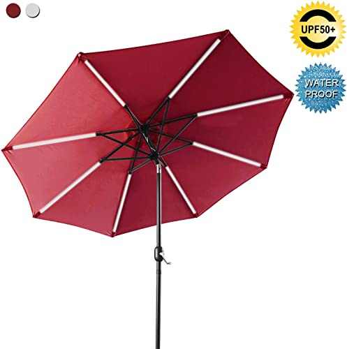 ABCCANOPY Patio Umbrella Solar Powered Outdoor Umbrella, 9 FT Market Umbrella 8 Ribs with Solar LED Light Bars, Push-Button Tilt and Crank