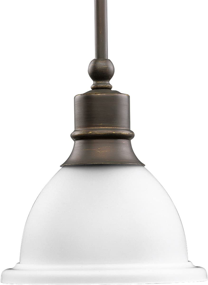 Progress Lighting P5078-20 1-Light Stem-Hung Mini-Pendant with White Etched Glass, Antique Bronze