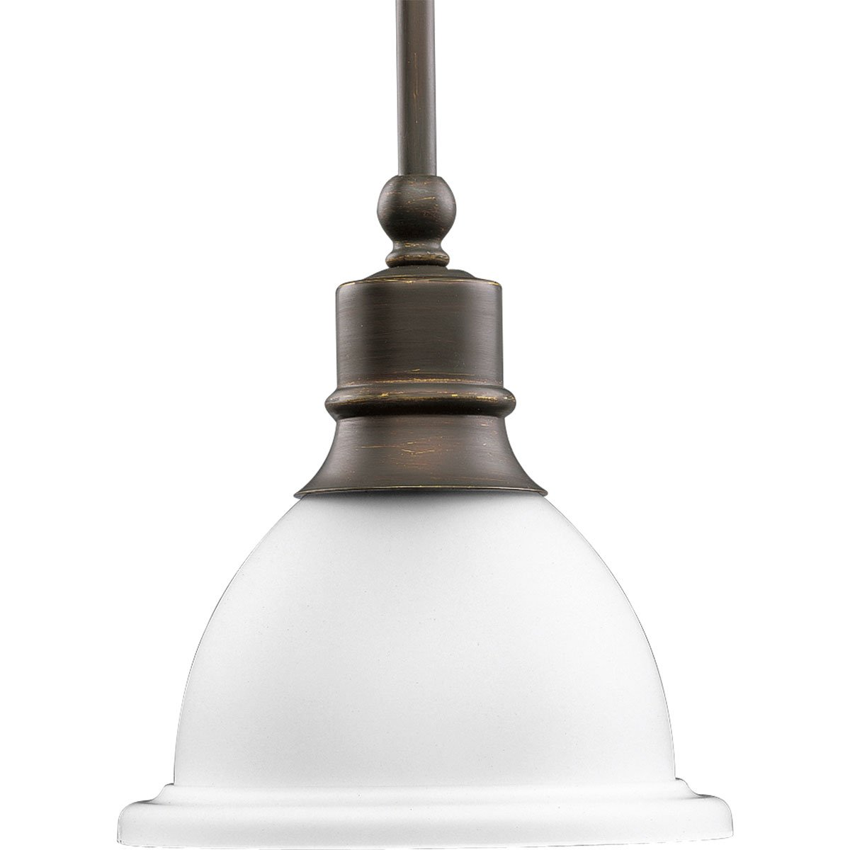 Progress Lighting P5078-20 1-Light Stem-Hung Mini-Pendant with White Etched Glass, Antique Bronze