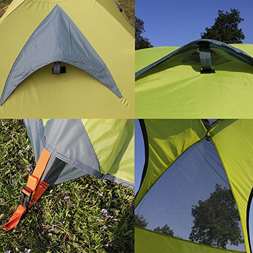 FLYTOP 3-4 Season 1-2-person Double Layer Backpacking Tent Aluminum Rod Windproof Waterproof for Camping Hiking Travel Climbing - Easy Set Up (Green-4 Season 2 Person)