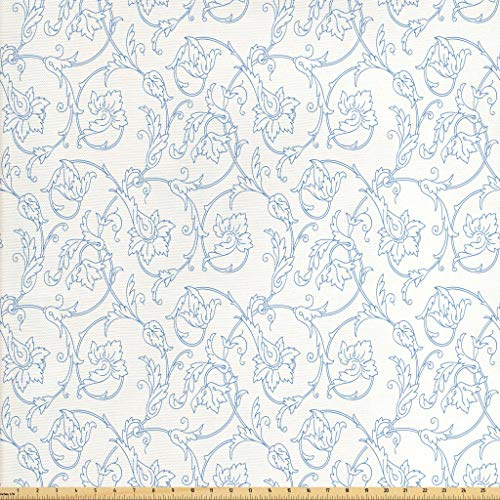 Ambesonne Floral Fabric by The Yard, Flower Orchids Bohemian Style Vintage Petals Vines Pattern French Country Style, Decorative Fabric for Upholstery and Home Accents, 1 Yard, Blue White