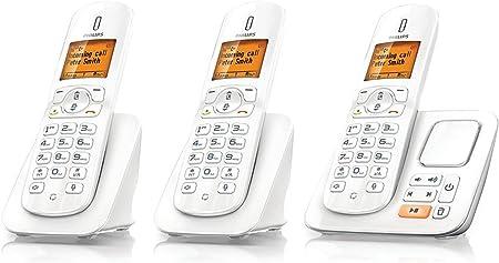 Philips CD285 TRIO - Teléfono fijo digital (contestador, inalámbrico, pantalla LCD), blanco: Amazon.es: Electrónica