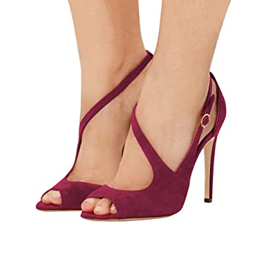 d6f5ec9c39 FSJ Women Peep Toe Buckled Sandals Hollow Out Strappy Heels Cocktail Party  Shoes Size 11 Wine