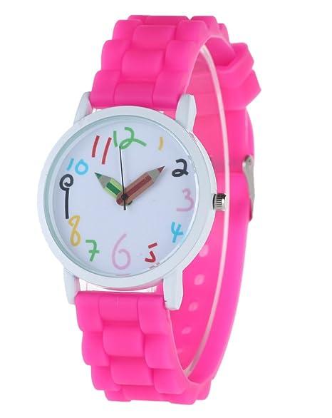 FEOYA - Reloj de Silicona Reloj Infantil de Pulsera Diseño de Cuarzo Analógico watch, Color Rosa: Amazon.es: Relojes