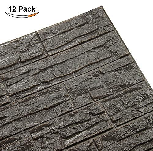 Doremy 3D Brick Pattern Wall Panels Stickers PE Foam Self-Adhesive Wallpaper DIY Waterproof Modern Style for Living Room Bedroom Kitchen Background Wall Decoration (12PCS, Dark ()