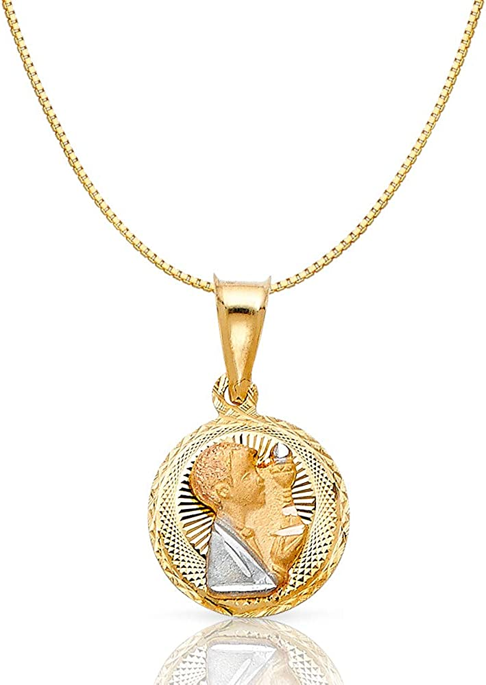14K Tri Color Gold Diamond Cut Communion Stamp Religious Charm Pendant with 0.8mm Box Chain Necklace