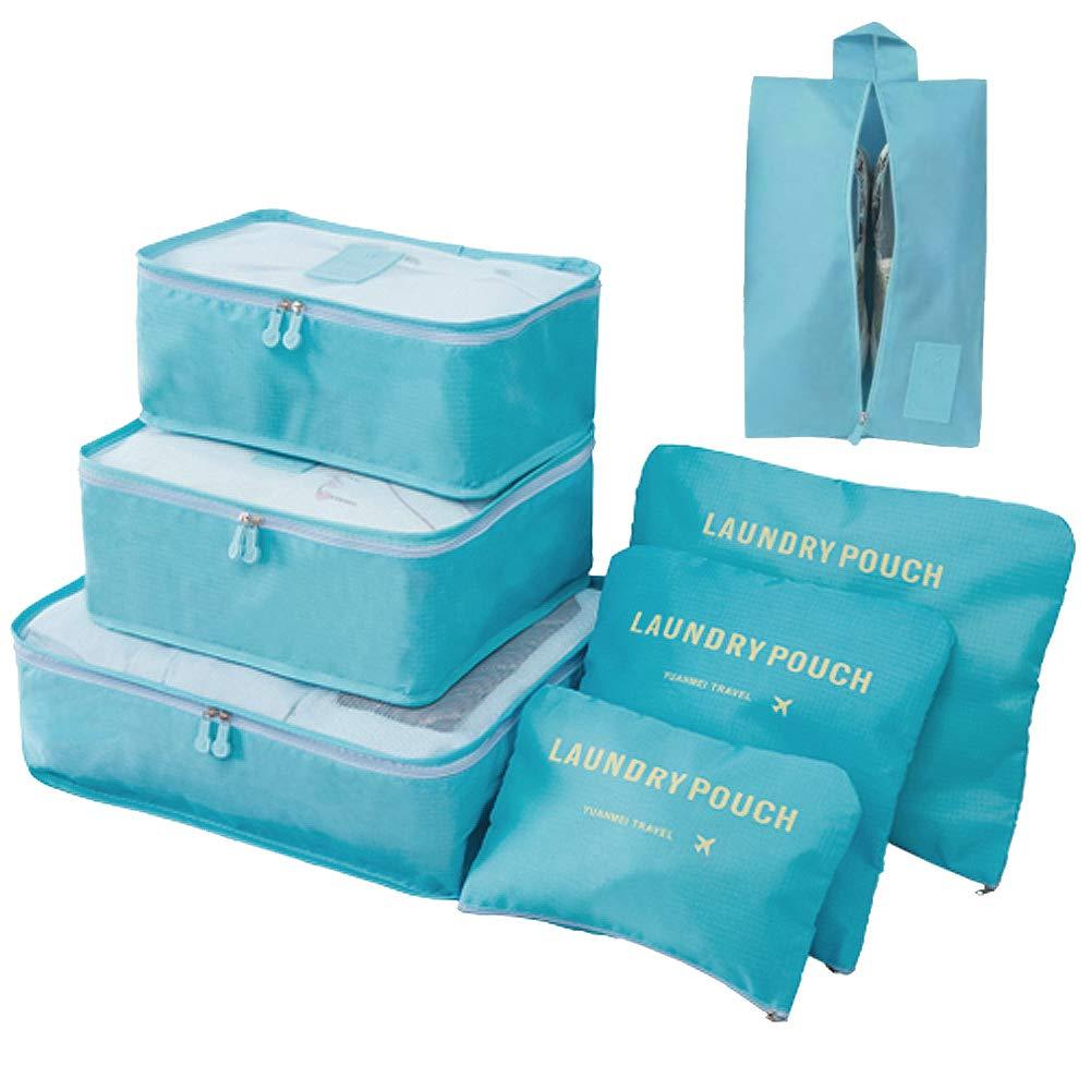 Organizador de Equipaje 7 en 1 Set Organizador de Maletas Impermeable Viaje con Bolsa de Zapato, Material Nylon-Meowoo(Lago Azul)