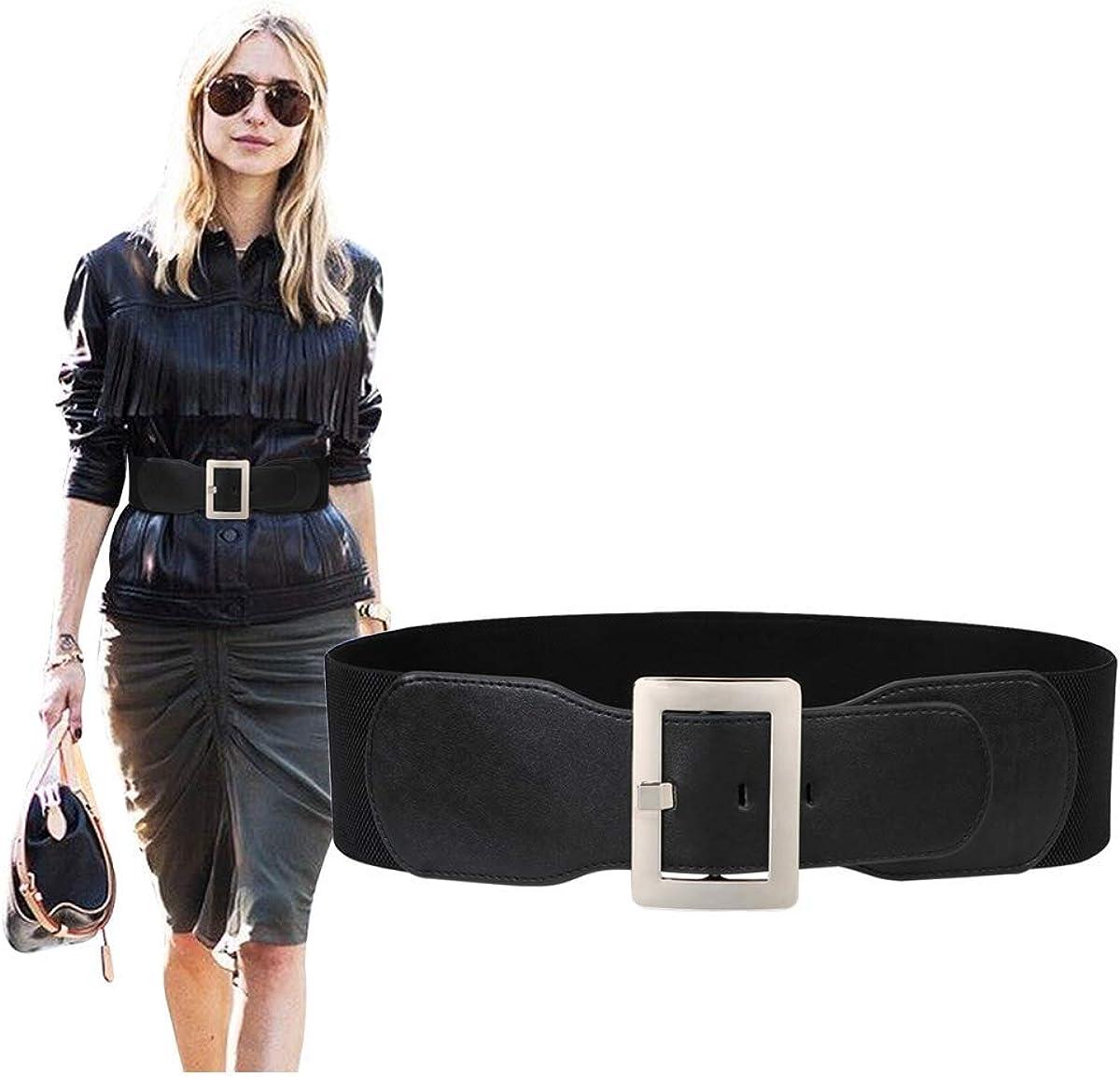 Women Wide Cinch Waist Belt Ladies Fashion Belt for Dresses with Metal  Buckle