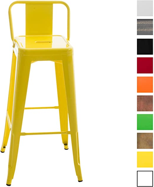 CLP Tabouret De Bar en Métal Mason I Tabouret De Bar Industriel Dossier Et  Repose-Pied I Chaise De Cuisine Ou Bar Design Et Confortable Jaune