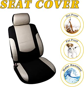 Stretchy Universal Seat Cushion W//Headrest Cover//Steering Wheel Cover//Belt Pad 100/% Breathable Automotive Accessories Durable Polyester for Most Cars OCPTY Car Seat Cover Black