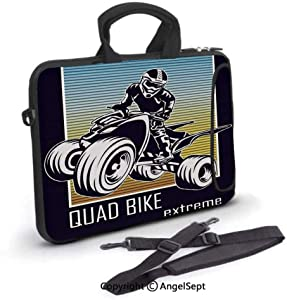 12 inch Laptop Bag,Quad Bike Extreme Lettering with Silhouette Racer on Gradient Colored Background,Waterproof,Portable,Compatible iPad,MacBook Pro,Air,Surface