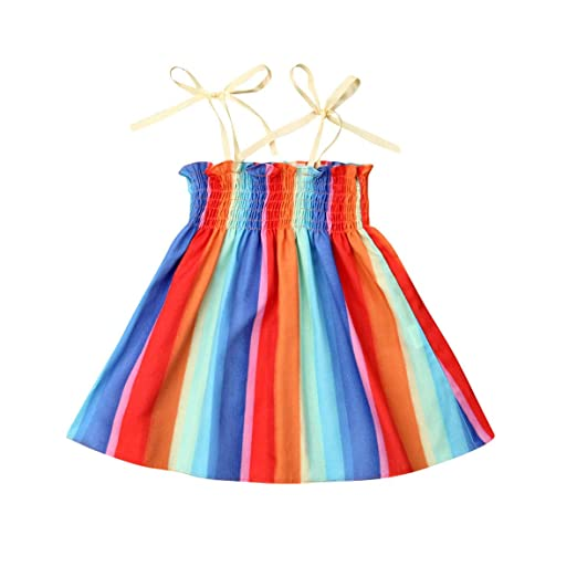 0d8a31df Infan Girl Rainbow Print Spaghetti Straps Sleeveless Backless High Low Dress  Toddler Summer Cami Dress 1