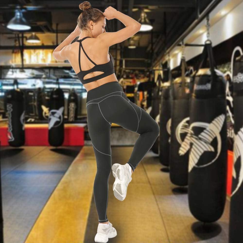 Vertvie Damen Laufhose Elastische Yogahose Sport Leggins Hohe Taille Sporthose Kompressions Fitnesshose Sportleggins f/ür Workout Gym Jogging Sportswear