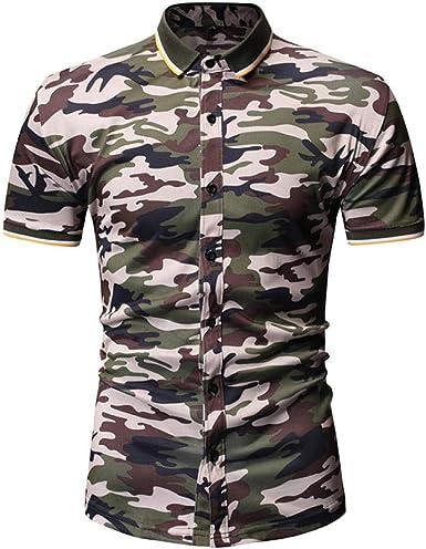 Camisa De Manga Corta Camisa De Camuflaje De Verano, Camisa Casual para Hombre, Camiseta Superior: Amazon.es: Ropa y accesorios