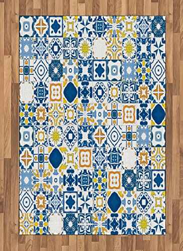 (Ambesonne Rug Yellow Blue, Mosaic Portuguese Azulejo Mediterranean Arabesque Effect, Flat Woven Accent Rug Living Room Bedroom Dining Room, 5.2 x 7.5 FT, Violet Blue Mustard White)