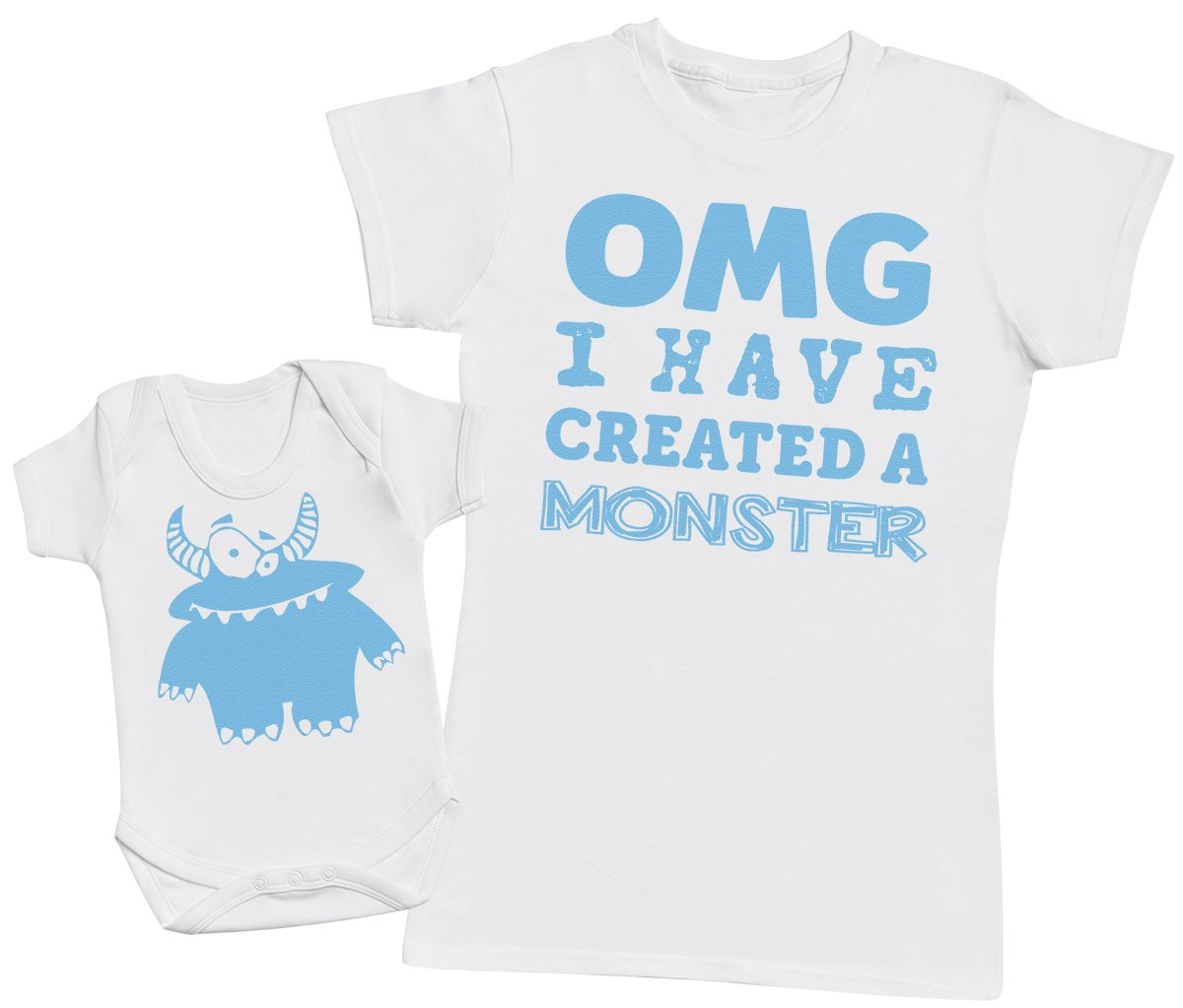 OMG I've Created A Blue Monster! - Matching Mother Baby Gift Set - Womens T Shirt & Baby Bodysuit