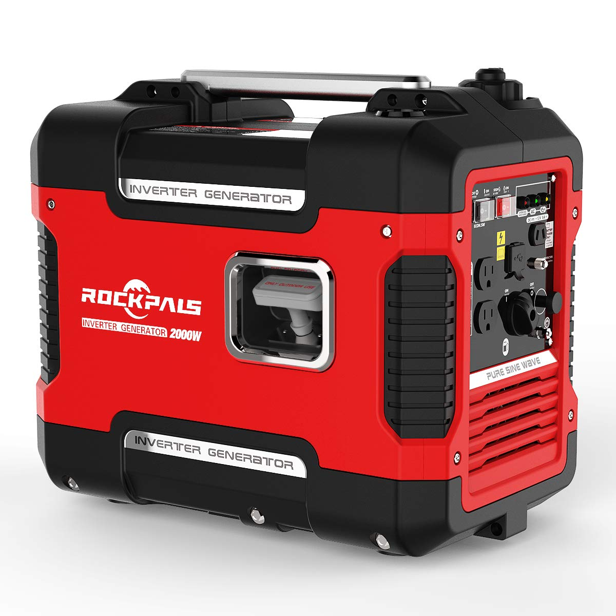 ROCKPALS 2000-Watt Super Quiet Inverter 9 Hours Time Portable Camping Gas Power Generator CARB Compliant