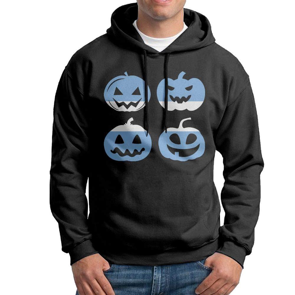 Mens Hooded Sweatshirt,Fashion Argentina Halloween Pumpkin Cotton Outwear for Mens Black