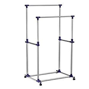 SONGMICS Double Rod Garment Clothing Rack on Wheels Clothes Racks for Hanging Clothes ULLR03B