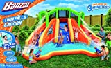 Banzai Twin Falls Lagoon Dual Lane Inflatable Motorized Constant Air Water Slide Spring & Summer Pool Splash Backyard Toys