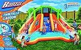 Banzai Twin Falls Lagoon Dual Lane Inflatable Motorized Constant Air Water Slide Spring & Summer Pool Splash Backyard Toys
