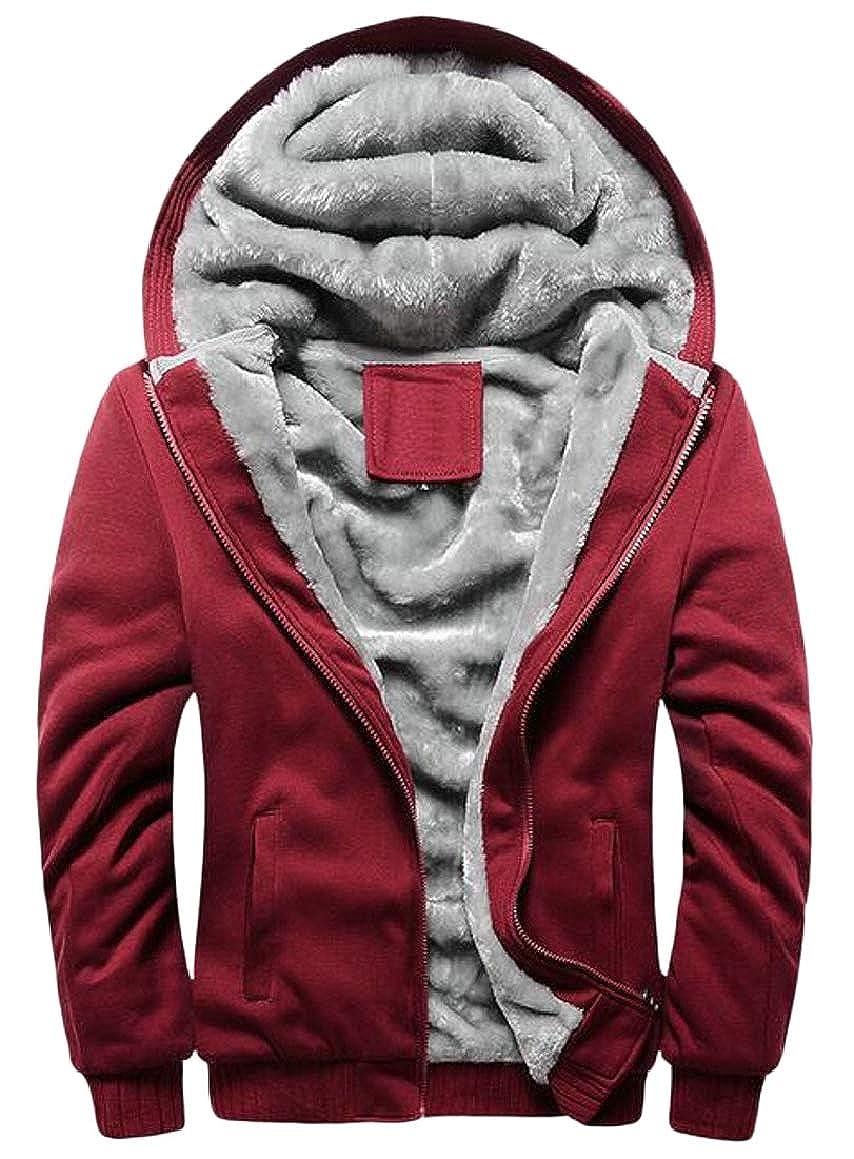 RG-CA Men's Long Sleeve Fleece Sherpa Lined Full-Zip Hoodie Sweatshirt Jacket