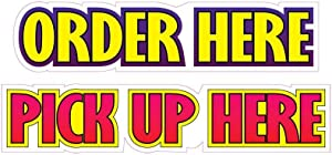 Order Here Pick Up Here Concession Decal Sign Restaurant Food Truck Vinyl Sticker 10 inches