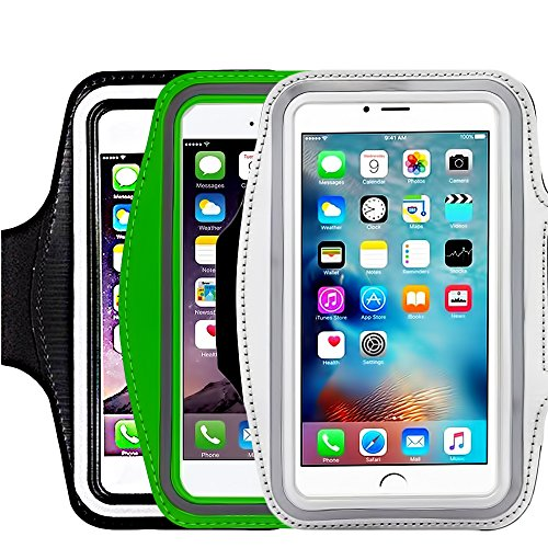 ([3 Pack]Running Armband,CaseHQ Sports Water Resistant with Key Holder Pouch Fit iPhone 7 6 6s Plus(5.5-Inch) Samsung Galaxy S7 S6/S5, Note 4/3 ,Bundle with Screen Protector)