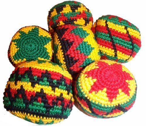 Rasta Assorted Hacky Sack / Footbag - Quantity 1 - Hand Crocheted Made in Guatemala - Comes with Tips & Game Instructions - G56 (Best Hacky Sack For Beginners)