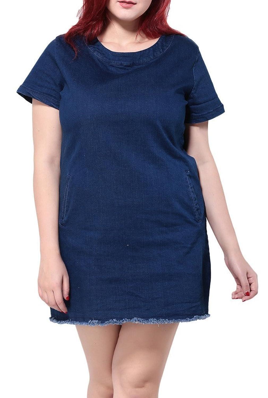 Bigood Plus Size Kurz Armel Damen Denim Kleid Minikleid Sommerkleid Sommerkleid Blau