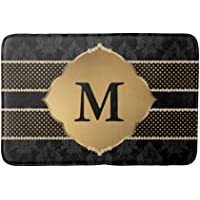 Elegant Black and Gold Damask Monogram Bath Door Mat Indoor 23.6 x 15.7 inch