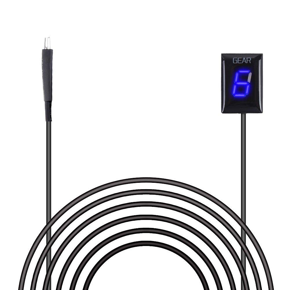 IDEA Waterproof Motorcycle Gear Indicator Plug & Play LED Display for Kawasaki (Rectangle, Blue) by IDEA