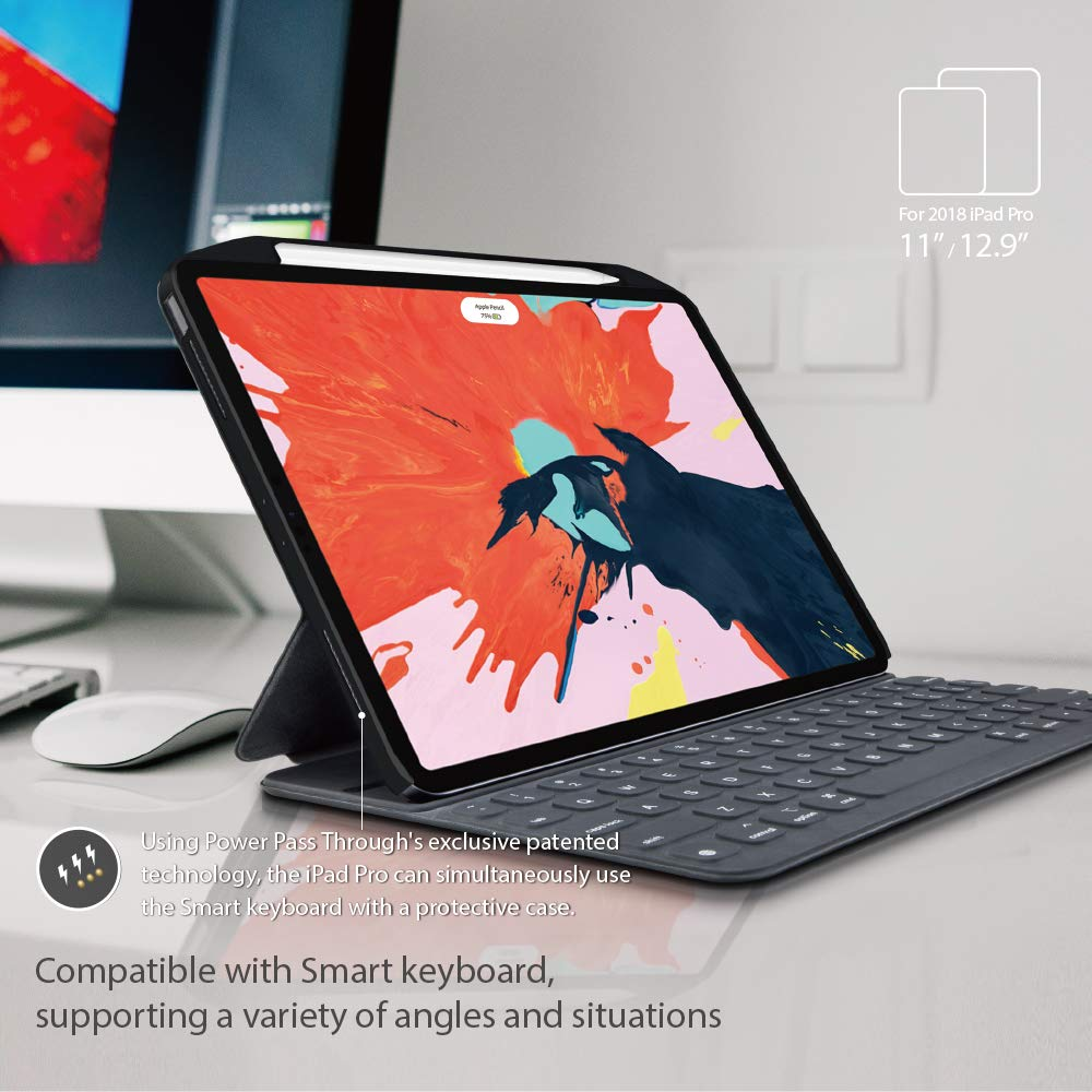 Compatible with Smart Keyboard Folio SwitchEasy CoverBuddy for 3rd Gen iPad Pro 12.9 inch Case Space Black Smart Folio and Apple Pencil with Pencil Holder 2018 iPad Pro 12.9 Protective Cover