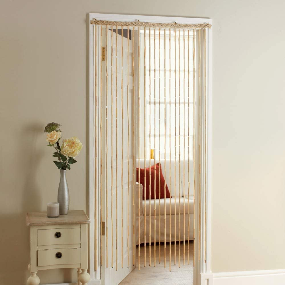JVL Natural Beaded Door Curtains, 180cm x 90cm approx, One Size